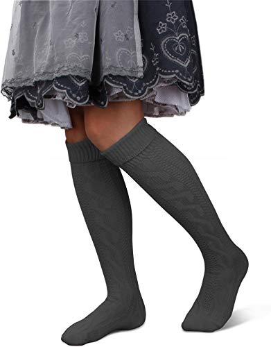 GearUp Lange und Kurze Trachtensocken für Damen | Trachtenstrümpfe fürs Oktoberfest | Kniebundhosenstrümpfe passend zu Dirndl oder Lederhose Farbe Anthrazit lang Größe 39/42