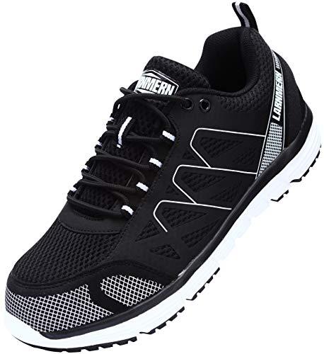 LARNMERN Sicherheitsschuhe Herren Damen, S1P Arbeitsschuhe SRC Sicherheitssneaker Stahlkappen Schuhe Leicht Industrie Schuhe Pannenschutz Sicherheitsstiefel L8055 (37 EU, Schwarz)