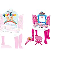 Girls Dressing Table Princess Mirror Stool Pretend Role Play Set Kids Makeup Table Toy includes Piano Keyboard