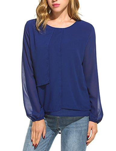 Trudge Damen Bluse Chiffon Tops Elegant Blusen Oberteil Hemd Monochrom Mode Hemd (S (Herstellergröße: S), C+Dunkelblau) -