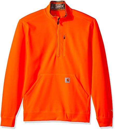 Carhartt Men's Force Extremes Mock-Neck Half-Zip Sweatshirt, Hunter Orange, Small Mock Jumper