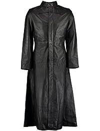 Neo Matrix Black Gothic Style Men's Long Trench Leather Coat
