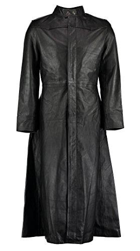 Neo Matrix Trenchcoat aus Leder, im Gothic-Stil, langer Schnitt, schwarz Gr. XS, schwarz