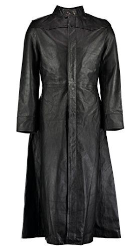 thic-Stil, lang, Leder, mit gratis Handschuhe, fingerlos (Neo Matrix Kostüm)