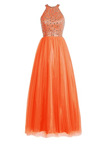 Bbonlinedress Robe de cérémonie Robe de bal emperlée forme empire longueur ras du sol Orange