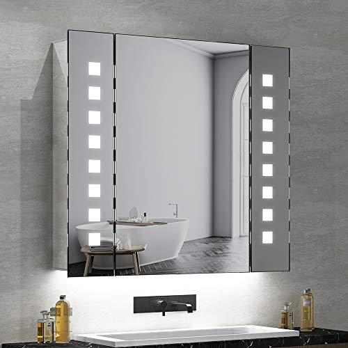 Quavikey LED beleuchtete Badezimmerspiegel Kabinett Aluminium Spiegelschrank Badschrank mit hintergrundbeleuchteter LED beleuchtet Rasierapparat-Sockel Demister 650 x 600mm -
