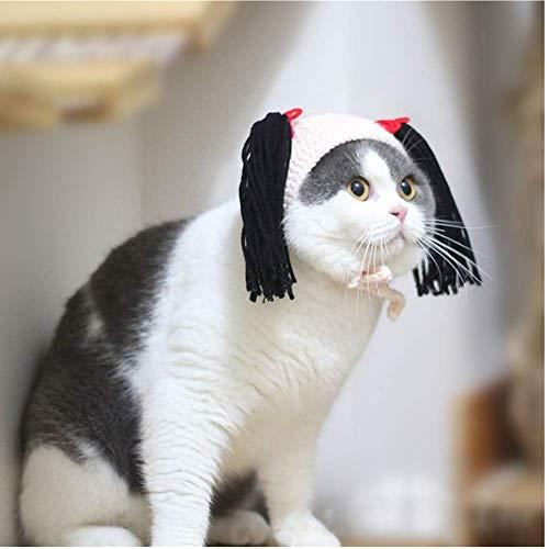 yangxiurongzuikeai YANGXIURONG Handmade - Haustier Katze/Hund/Kaninchen Strickmütze Cute Funny Pet Party Dress Up/Alltag Dekoration/Weihnachten/Halloween Dekoration (M,Hautton) (Alltags Dress Up)