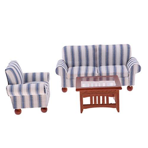 Baoblaze 1/12 Puppenmöbel Wohnzimmer - Miniatur Sofa Couch + Teetisch + Ohrensessel - Puppenstuben...