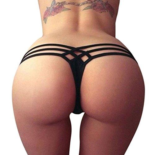 URSING Damen Sexy Bottoms/ Frauen Bikini Unterteil Criss Cross Bottom/ Vintage Tanga Bikinihose String Weave Bandage Rüschen Brazilian Badeslip/ Höschen Badeshorts Vintage Schwimmshorts (S, Schwarz) (Größe 10 Frauen Höschen)