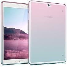 kwmobile Funda transparente para Samsung Galaxy Tab S2 9.7 T810N/T813N/T815N/T819N carcasa de silcona TPU para tablet funda protectora con Diseño bicolor en rosa fucsia azul transparente