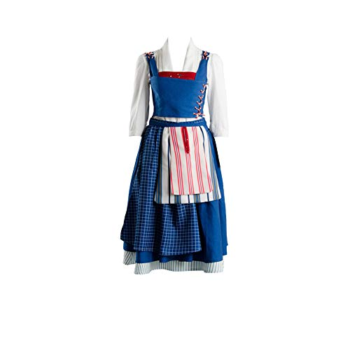 MingoTor Prinzessin Belle Dress Kleid Cosplay Kostüm Blau Damen S