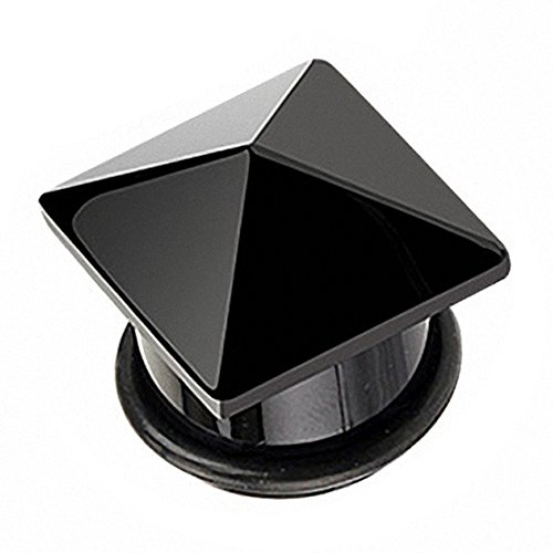 Piercingfaktor Ohr Plug Flesh Tunnel Piercing Ohrpiercing Organic Pyramide Achat Stein Schwarz 16mm