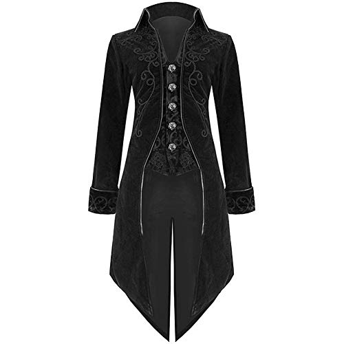 MYMYG Mode Herren Frack Jacke Gothic Steampunk Uniform Kostüm Party Outwear Mantel Retro Gericht Gothic Abendkleid Cos Revers Schwalbenschwanz Stage Jacket Schwarz (Partys Für Halloween-gerichte)