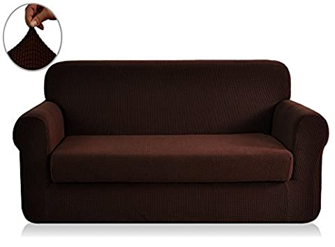 CHUN YI Jacquard Sofa Covers 2-Piece Polyester Spandex Fabric Stretch Slipcovers (Loveseat, Chocolate)