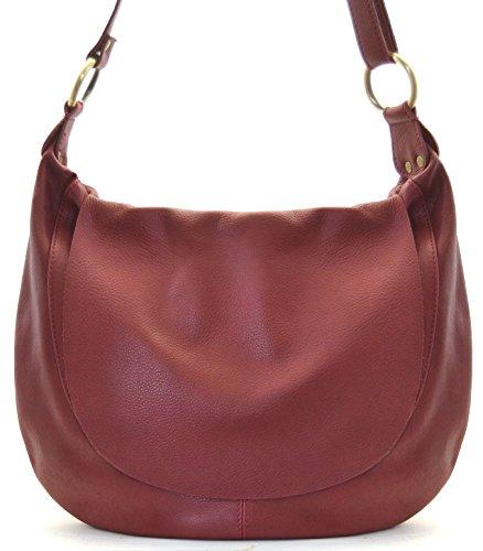 OH MY BAG Sac à Main en cuir souple femme porté bandoulière Modèle Perla (grand) rouge foncé - SOLDES