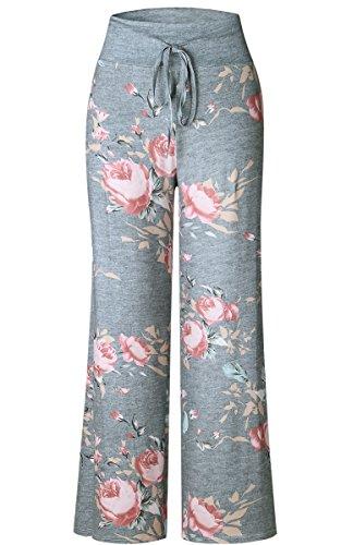 Angashion Damen Blumenmuster Weite Bein Lange Hose Grau
