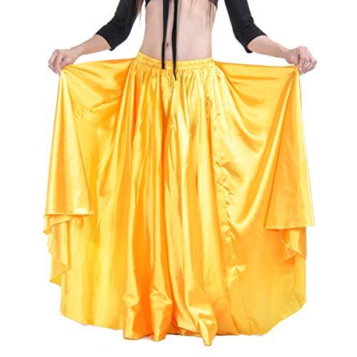 Dreamworldeu Damen Bauchtanz Satin Rock Arabisch Halloween Glänzender Maxi Belly Dance Rock Gelb