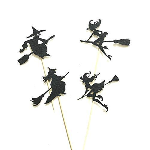 Leisial 4 Stück DIY Cupcake Toppers Halloween Cake-Topper Hexe Kuchen Toppers Halloween Tortendekoration Tortenstecker Halloween Tortentopper Schwarz