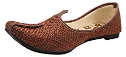 RAJWADI Exclusive Boys Brown Jute Mojaris - 6 UK