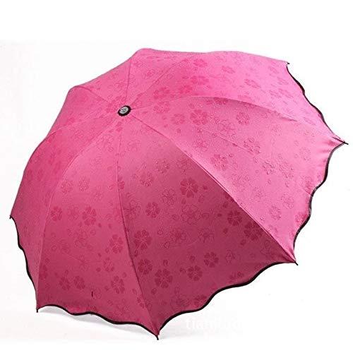 SQYSHOP Neue Dame Prinzessin Magic Flowers Dome Sonnenschirm Sonne/Regen faltschirm prain Frauen transparent Regenschirm Messing Knuckles für Frauen , Rose-oew7