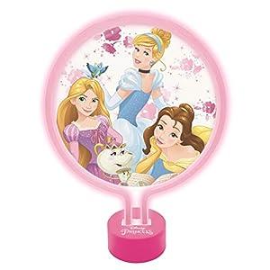 Lexibook Disney Princesas-Lámpara de Neón, luz Nocturna para Las niñas admiradoras de Bella, Rapunzel y Cenicienta-L Cenicienta-LTP100DP, Color Rosa