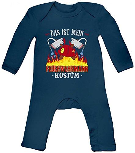 m Feuerwehrmann Babybody | Verkleidung | Karneval | Fasching | Langarm | Langärmliger Strampler, Farbe:Blau (Nautical Navy BZ13);Größe:6-12 Monate (Günstige Feuerwehrmann Kostüm Ideen)