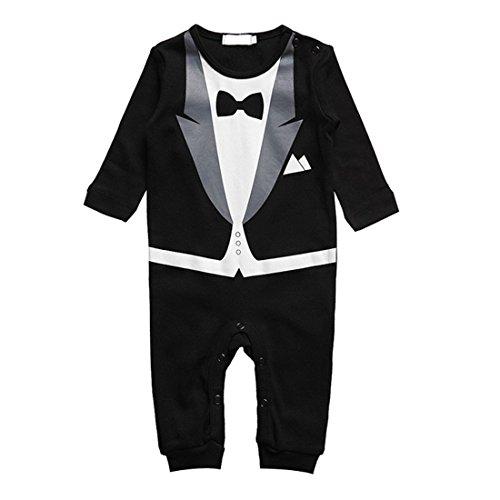 Baby Strampler Smoking für Jungen - Anzug mit Fliege (Größe 80, 6-12 Monate, schwarz)