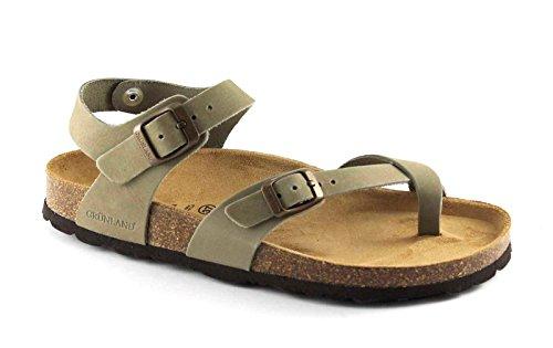 GRUNLAND SARA SB0917 grigio kaky sandali donna infradito pelle birk fibbie Grigio