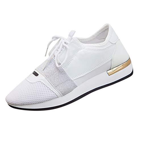 Xmiral Sneakers PU Schuhe Gummisohle Damen Riemchen Spitze Zehe Turnschuhe Wanderschuhe Sportschuhe Gummiband Rutschfest Fitnessschuhe(Weiß,40 EU)