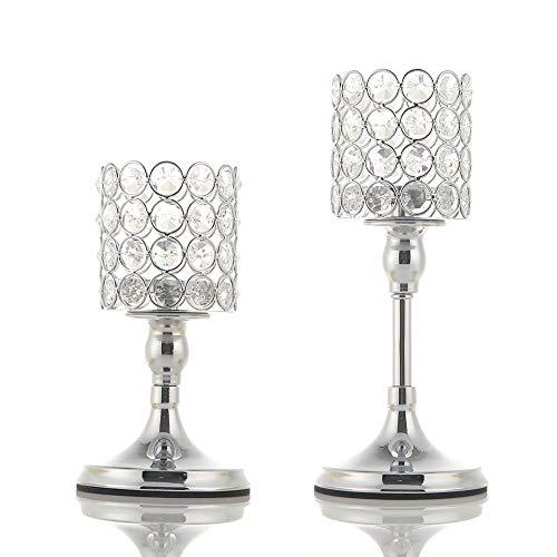 VINCIGANT Silber Kristall Kerzenhalter/Kerzenständer Silber Zylinder 2er Set für Hochzeit Geschenk Couchtisch Bar Party Dekoration,20cm&25cm Höhe