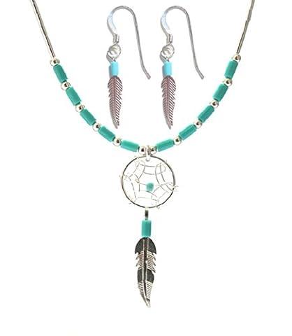 Argent Sterling Imitation Turquoise Attrape Rêves Minuscules Boucles d'oreille Pendentif Collier Parure Chaîne 46cm