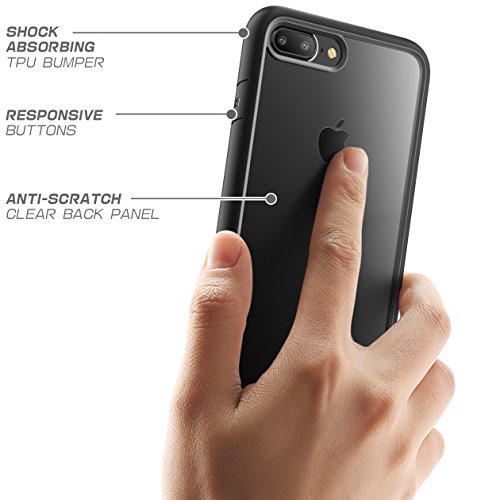 Supcase Unicorn Beetle Style, Custodia ibrida antigraffio e antiurto trasparente per iPhone 7 Plus e 8 Plus, Nero