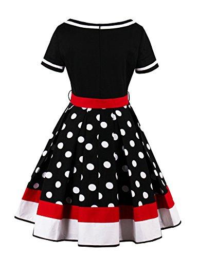 VKStar® Retro Kleider 50er 60er Abendkleid kurzarm Cocktailkleid mit punkten Vintage Kleider Sommer Rockabilly Schwarz