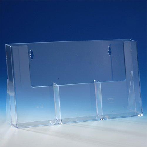 taymar® Tisch-Prospekthalter / Flyerständer mit 3 Fächern, Fülltiefe 32 mm, glasklar, 3×DIN lang, Transparent (3C110H)