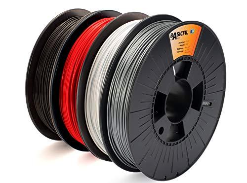 BASICFIL combipack PLA 1.75mm, 4 x 500 gr, 3D Drucker Filament, Schwarz/Weiß/Silber/Rot