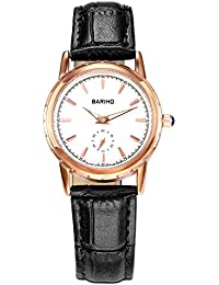 Naivo Women's Quartz Stainless Steel and Leather Casual Watch Color:Black (Model: NAIVO-WATCH-1095)