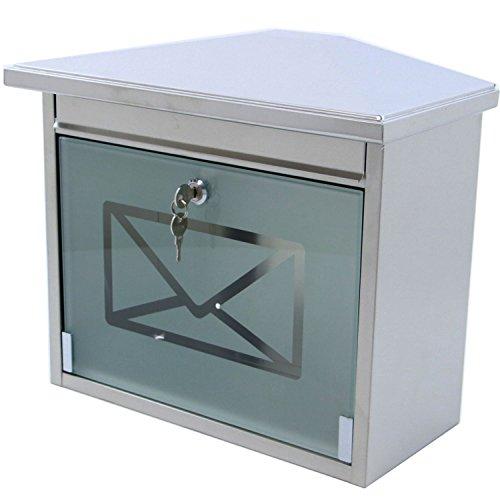 Edelstahl Briefkasten mit extralangem Briefschlitz für Zeitungen & Kataloge, mit geätztem Musselinglas