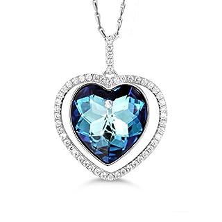 MASOP Damen Herz Halskette mit Aquamarine Anhänger Blau Swarovski Kristall 925 Sterling Silber und Weiß Rund Zirkonia 45CM Kette Perfekt Geschenk für Liebling