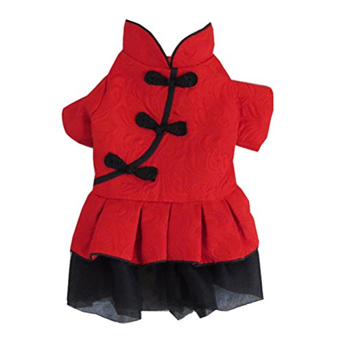 Kostüm Chinese Year New Dog - Zhhlaixing Haustier Soft Pet Dog Puppy Chinese Style Party New Year Christmas Red Dress Skirt Pet Dog Cosutme