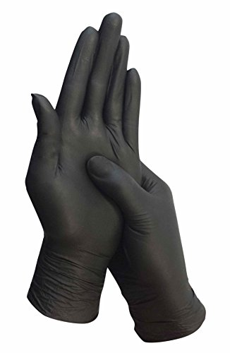 L Schwarze Nitril Einweghandschuhe Puderfreie und Unsterile Kochhandschuhe Tätowierhandschuhe Tattoo Handschuhe, (Das Handwerk Kostüm)