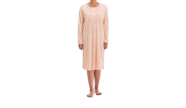 Zeitlos Damen Nachthemd Fiona Langarm Schlafshirt Blumen Punkte