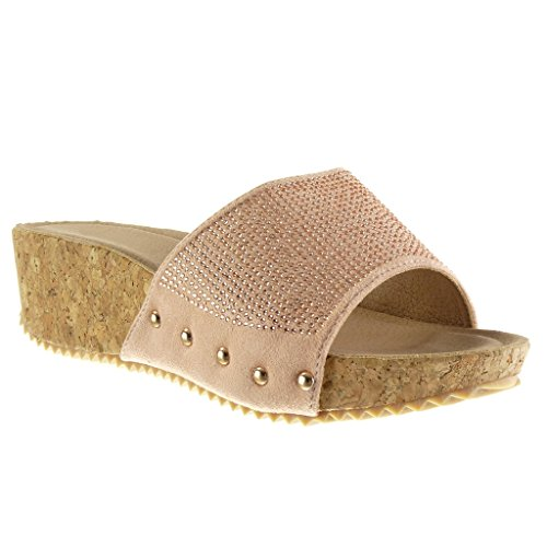 Angkorly Damen Schuhe Mule Sandalen - Plateauschuhe - Strass - Nieten - Besetzt - Kork Keilabsatz High Heel 5 cm - Rosa PN1550 T 39 (Heels Kork)