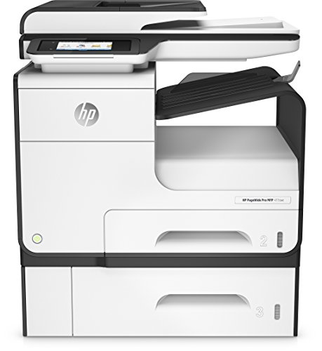 HP PageWide Pro 477dwt Multifunktionsdrucker (A4, Drucker, Scanner, Kopierer, Duplex, Fax, WLAN, LAN, 1000 Blatt Papierfach, HP ePrint, Airprint, Cloud Print, USB, 2400 x 1200 dpi) weiß