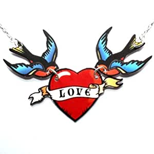 Sour Cherry Swallow 'love' birds Necklace (16 inch gold plated chain)