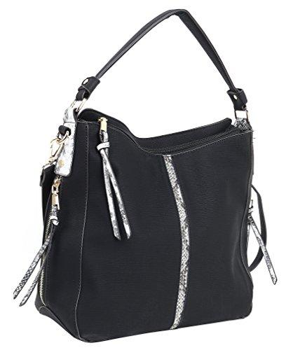 Ghlee Schwarz PU Leder Handtasche für Frauen für Arbeit Dame Schultertasche Umhängetasche mit langem Gurt (Schwarz) (Gurt-reißverschluss-frauen-handtaschen)