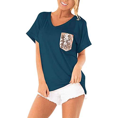 DressLksnf Damen Knopf T-Shirt Tunika Einfarbig Kurzärmliges O-Ausschnitt mit Pailletten Blusenshirt Lockere Langarm Oberteile T-Shirt Lose Tops Bluse Pullover -