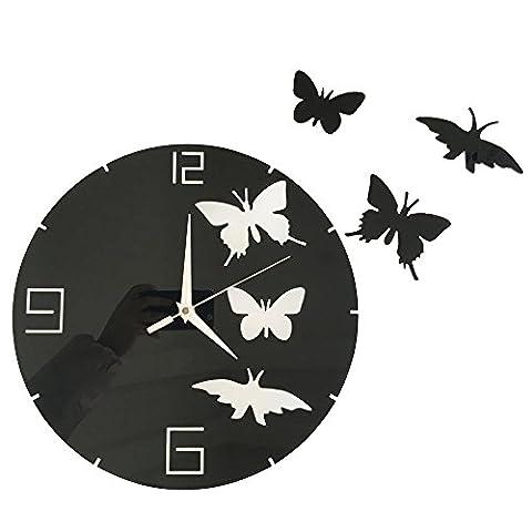Forepin® Pendules Horloges Murales Moderne Design Bricolage DIY 3D Mute Home Office Salon de Décoration Silencieuse Chiffres Romains Grand Montre Stickers Amovible Rond (Batterie Non Inclus) - Papillon Noir