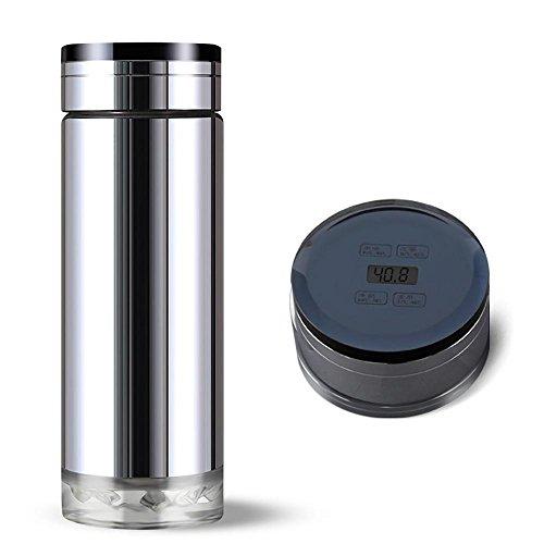 Mit Kleine Infuser Glas-teekanne (Teeflasche Glas,Anzeige Isolierbecher,mit Thermo-Funktion und Tea-Filter,BPA-Frei,Mobil Genießen,300ML)