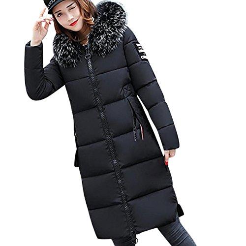 Manteau Hiver Femme Jacket,zycShang Zip Long Veste à Capuche Fourrure Fausse Chaud Doudoune Coat Blouson Veston Hoodie (M, Noir)