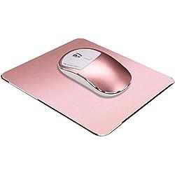 Ratones 2.4G Inalámbrico USB Mudo Cargando Ergonomía Óptico Ajustable Ratón para juegos + alfombrilla de ratón para PC Ordenador portátil Computadora Cuaderno Escritorio Macbook LMMVP (118*65mm, Rosa)